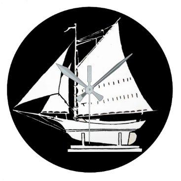 sailboat silhouette large clock