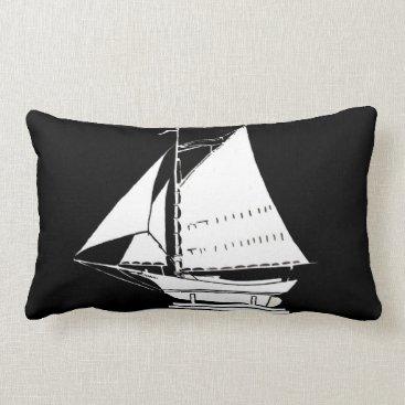 Beach Themed sailboat silhouette lumbar pillow