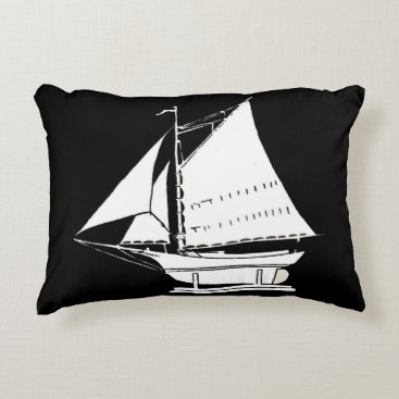 Beach Themed sailboat silhouette print decorative pillow