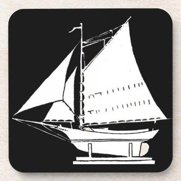sailboat silhouette print drink coaster