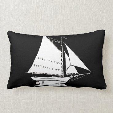 Beach Themed sailboat silhouette print lumbar pillow