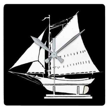 sailboat silhouette square wall clock