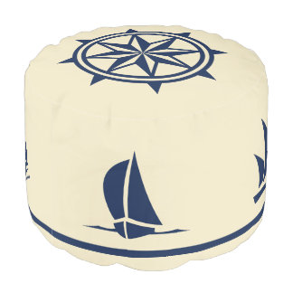 Sailboat Silhouettes compass rose blue on tan Pouf