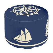 Sailboat Silhouettes compass rose tan on blue Pouf