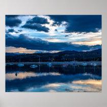 Sailboat Skyline // Dark Evening Blue Light