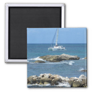 Sailboat St. Maarten 2 Inch Square Magnet