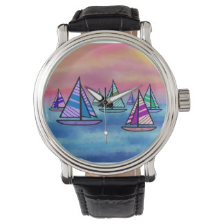 Sailboat Sunrise Wristwatch