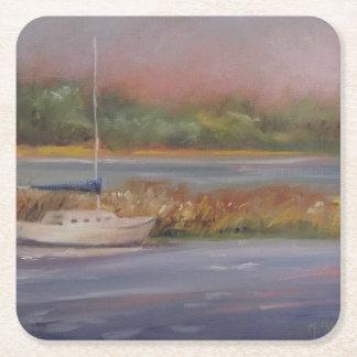 Sailboat Sunset Peaceful Marsh Serene Square Paper Coaster