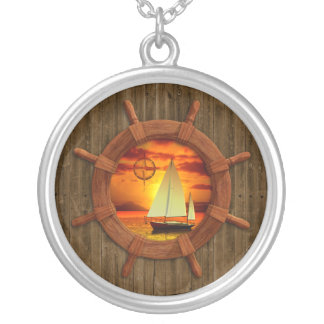 Sailboat Sunset Silver Plated Necklace