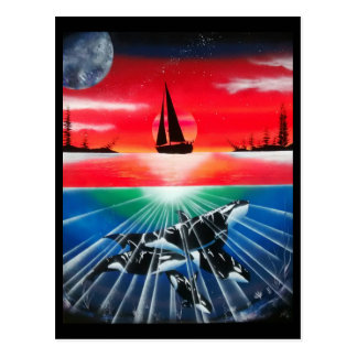 Sailboat sunset with underwater killer whale paint postcard