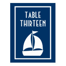 Sailboat Table Numbers (Dark Blue / White) Post Card