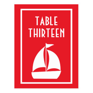 Sailboat Table Numbers (Red / White) Postcard