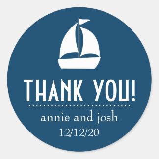 Sailboat Thank You Labels (Dark Navy Blue) Classic Round Sticker