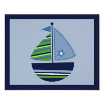 Sailboat Transportation Boy Nursery Wall Art Print