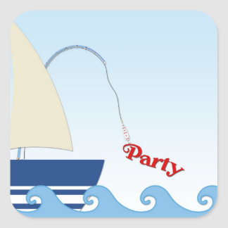 Sailboat Waves Party Sticker