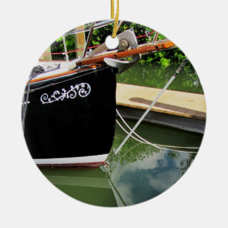 Sailboat with Bow Sprit and Reflections in Water Christmas Tree Ornaments