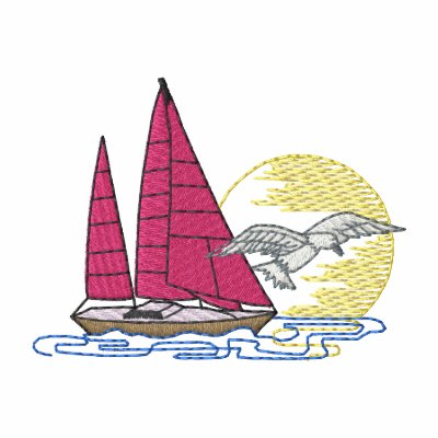 Sailboat with gull