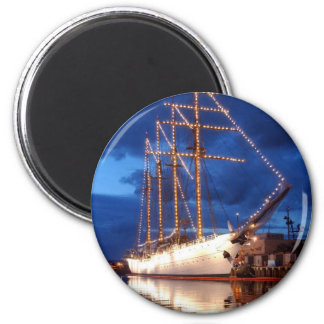 Sailboat with Lights 2 Inch Round Magnet