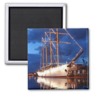 Sailboat with Lights 2 Inch Square Magnet