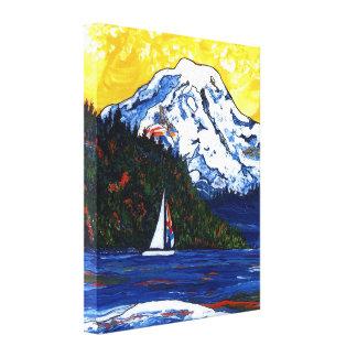 Sailboat with Mt Rainier Canvas Print