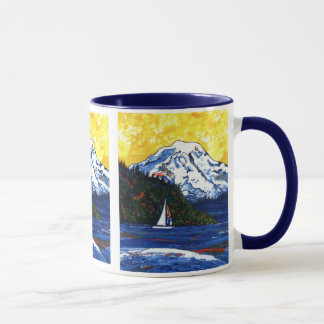 Sailboat with Mt Rainier Mug