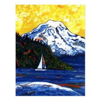 Sailboat with Mt Rainier Postcard