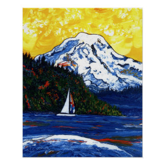 Sailboat with Mt Rainier Poster