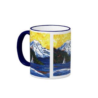 Sailboat with Mt Rainier Ringer Coffee Mug