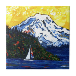 Sailboat with Mt Rainier Small Square Tile