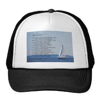 """Sailboat with poem """"Gifts of a Day"""" Hats"""