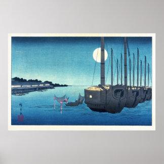 Sailboats and a Full Moon Print