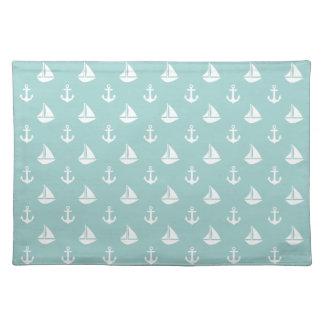 Sailboats and Anchors Pattern Cloth Placemat