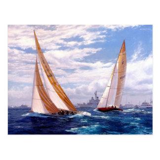 Sailboats and battleships postcard