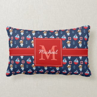 Sailboats and Bears Pattern Monogrammed Lumbar Pillow