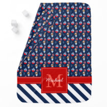 Sailboats and Bears Pattern Monogrammed Swaddle Blanket