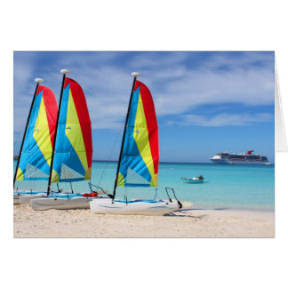 Sailboats and cruise ship in Caribbean Card