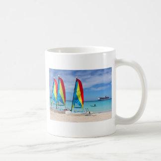 Sailboats and cruise ship in Caribbean Coffee Mug