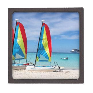Sailboats and cruise ship in Caribbean Keepsake Box