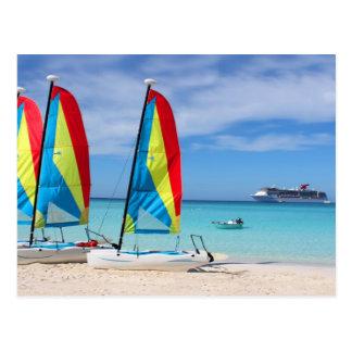 Sailboats and cruise ship in Caribbean Postcard