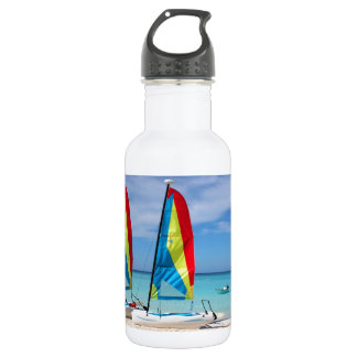 Sailboats and cruise ship in Caribbean Stainless Steel Water Bottle