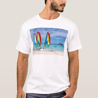 Sailboats and cruise ship in Caribbean T-Shirt