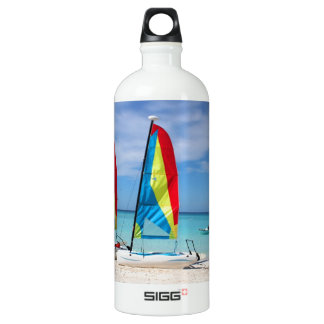 Sailboats and cruise ship in Caribbean Water Bottle