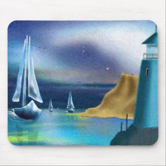 Sailboats and Lighthouse Mouse Pad