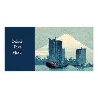 Sailboats and Mount Fuji Photo Card