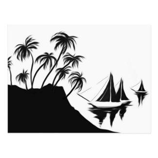 Sailboats and Palms Postcard