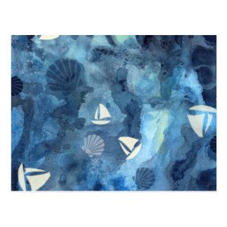 Sailboats and Seashells Postcard