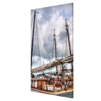 Sailboats Are Docked In The Key West Harbor Canvas Print