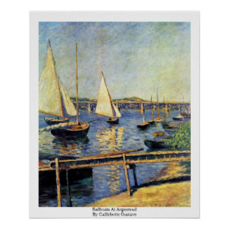 Sailboats At Argenteuil By Caillebotte Gustave Poster