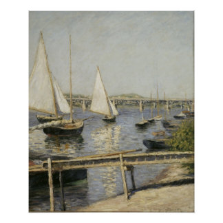 Sailboats at Argenteuil by Gustave Caillebotte Poster