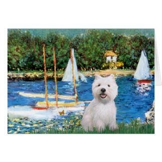 Sailboats at Argenteuil  - Westie 2 Card
